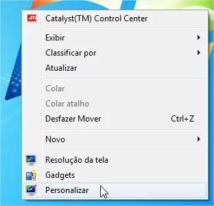 Abra a janela de personalização pelo menu de contexto da Área de Trabalho.