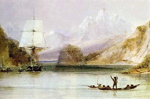 A watercolour by HMS Beagle's draughtsman, Conrad Martens. Painted during the survey of Tierra del Fuego, it depicts native Fuegians hailing the Beagle.