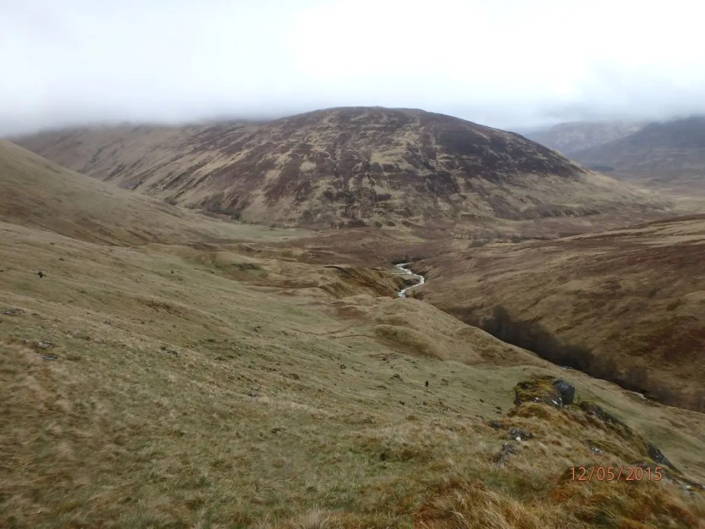 Descending into Glen Turret, just below the cloud base.