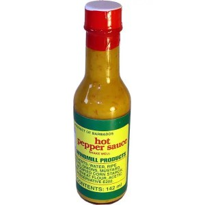 Windmill Bajan Hot Pepper Sauce. It's an excellent combination of heat and flavour.