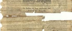 Viejos ejemplares del periódico Nuevo Aragón encontrados en una mesa vieja.
