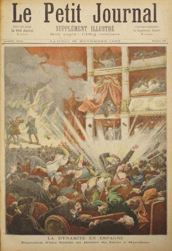 Atentado en el Liceo de Barcelona en la tapa de la publicación francesa Le Petit Journal.