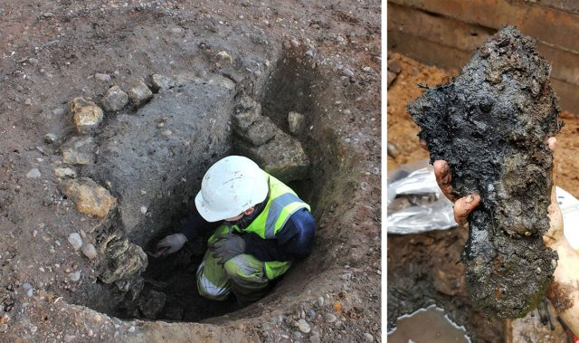 Excavating the well and a roman period shoe sole from the base.