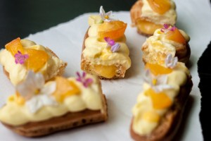 Eclairs with apricot curd and lavender cream
