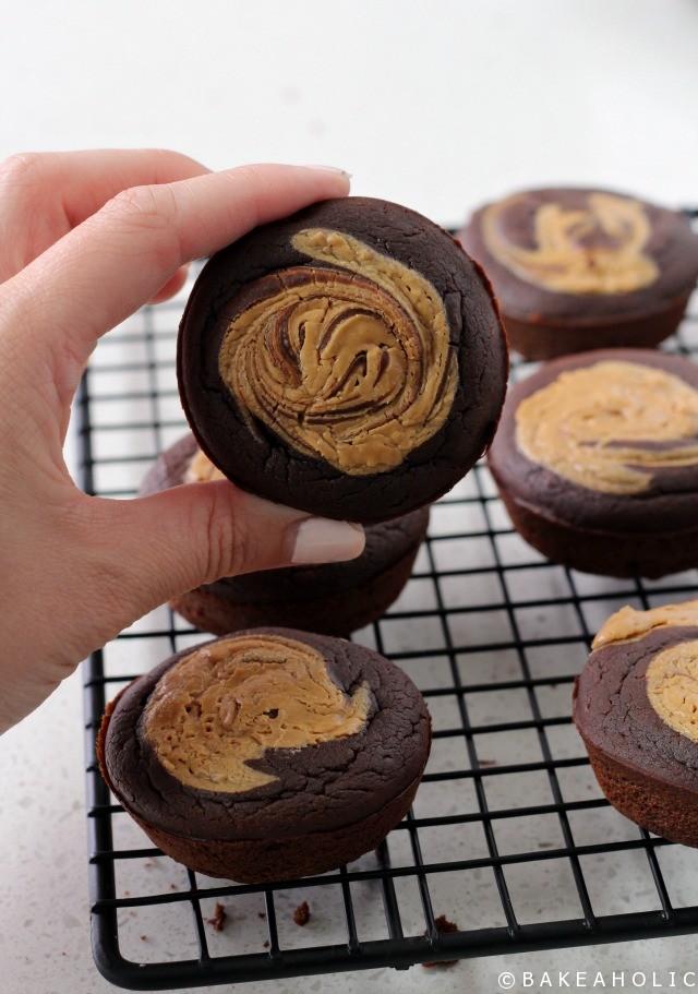 Peanut Butter Swirl Black Bean Brownies // Bakeaholic.ca