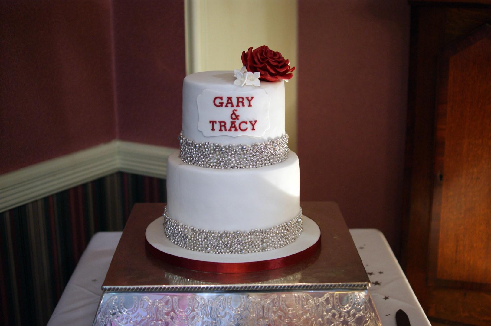 Silver Band 2 Tier Wedding Cake Bakealous