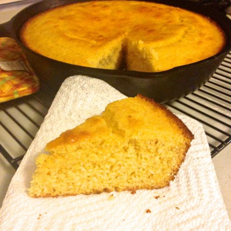 skillet cornbread, sliced