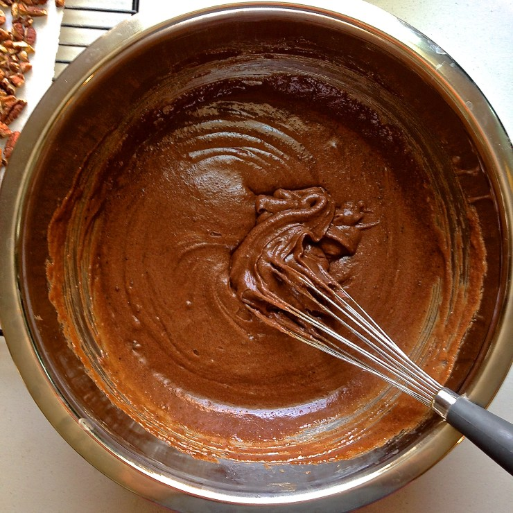 salted caramel turtle brownies - batter being mixed