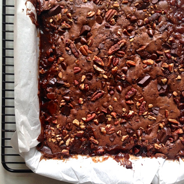 salted caramel turtle brownies - close up