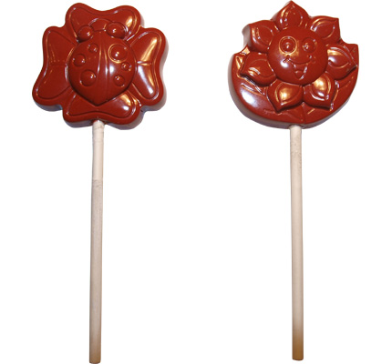 Polycarbonate Lollipop Chocolate Mold: Flower & Ladybug 45 x 46mm, 4 Cavities Ea
