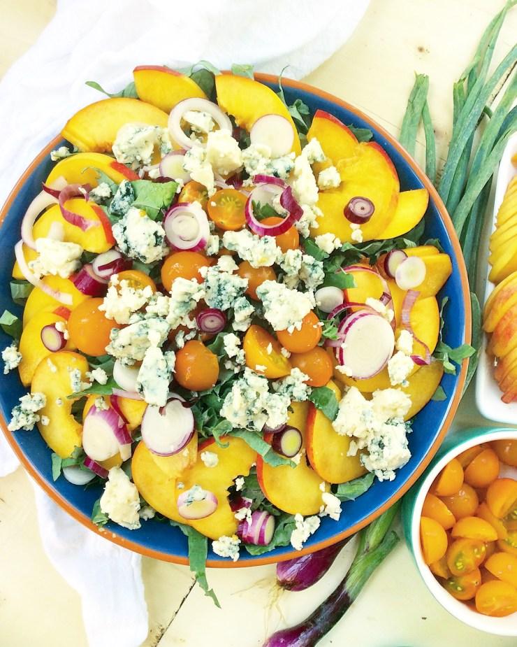 Peach, Pecan & Blue Cheese Kale Salad
