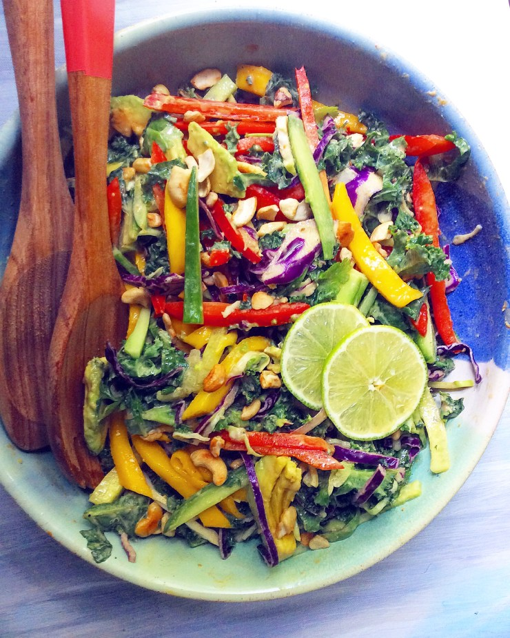 Thai Kale Salad with Peanut Ginger Dressing