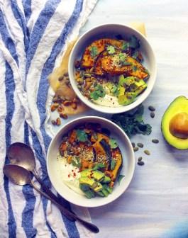 Savory Yogurt Bowls with Roasted Kabocha and Pistachios