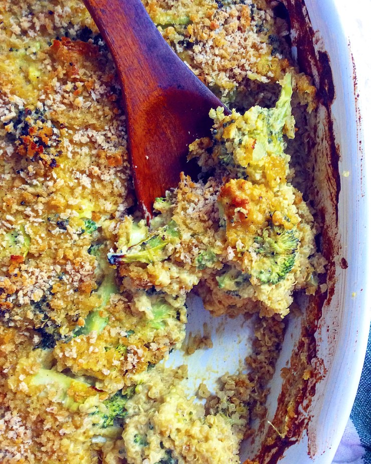 Cheesy Vegan Broccoli + Quinoa Bake