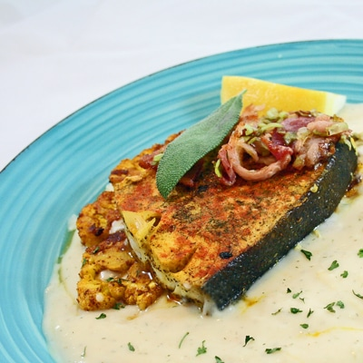 Pan Seared Halibut Steaks with Creamy Lemon Dill White Sauce and Cauliflower Steak, BakeItWithLove.com