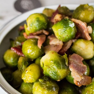 Maple Roasted Brussel Sprouts with Bacon and Toasted Walnuts are a sweet and salty vegetable side dish for the holidays