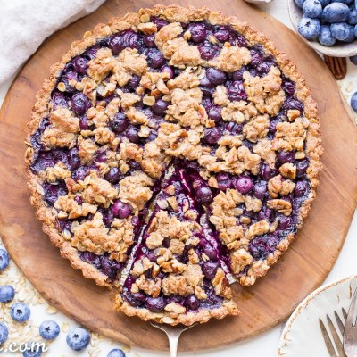 Blueberry Crisp Tart with Oatmeal Crust (Gluten Free + Vegan)