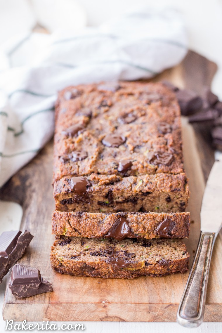 This Chocolate Chunk Zucchini Bread is soft and moist with a tender crumb, and it's not too sweet. This quick bread is Paleo friendly, gluten-free, grain-free, and refined sugar-free.
