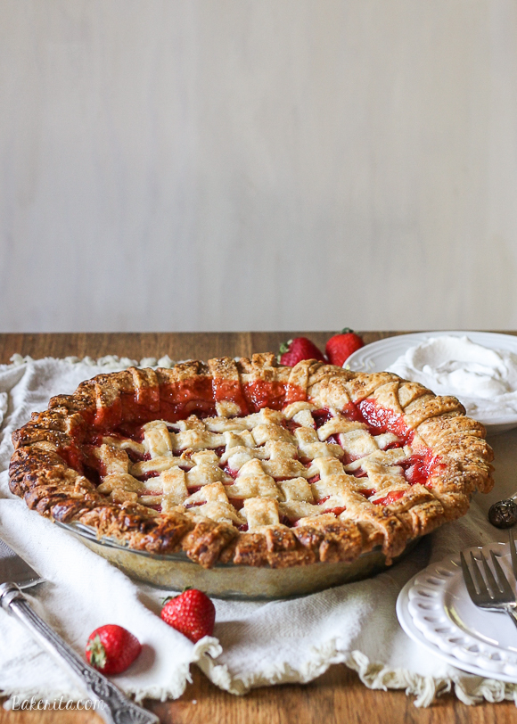 This Berry Rhubarb Pie features fresh strawberries and raspberries, which pair perfectly with the tart rhubarb to create a sweet and tart pie that'll have everyone asking for seconds!