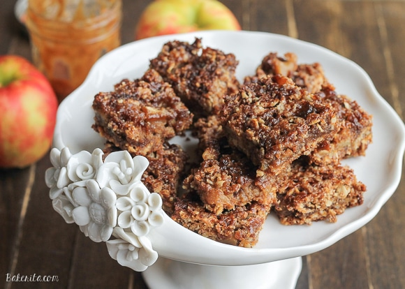 These Caramel Apple Crumb Bars are absolutely addicting, on their own or served with a little extra caramel sauce! They are gluten-free, refined sugar-free, and vegan.