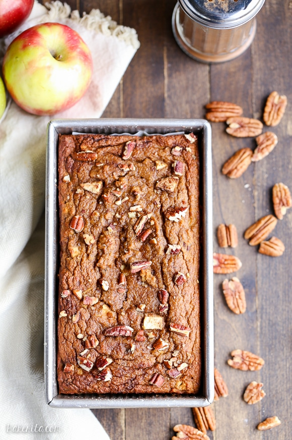 This Paleo Apple Cinnamon Bread is a healthy breakfast or snack that's made with applesauce! This gluten-free and grain-free spiced loaf is so easy and moist.