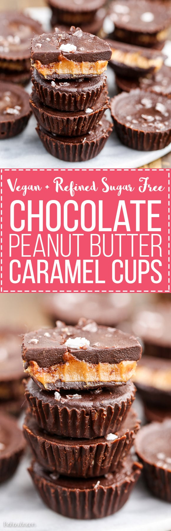 These Chocolate Peanut Butter Caramel Cups are made with homemade chocolate surrounding a gooey vegan peanut butter caramel. These refined sugar free treats are the perfect way to get your candy fix!