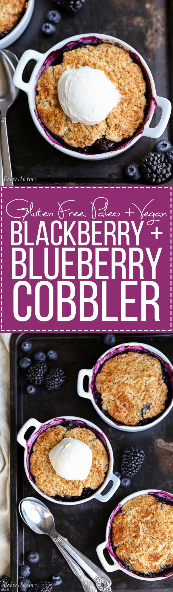 This Blackberry + Blueberry Cobbler is healthy enough for breakfast, but sweet + delicious enough to be dessert! These gluten-free, Paleo, and vegan cobblers have a crisp and gooey topping.