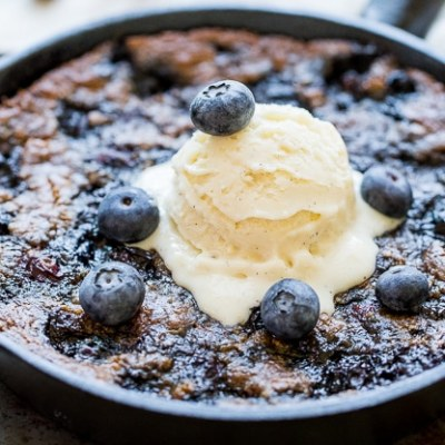 Blueberry Skillet Cookie (Gluten Free + Paleo)