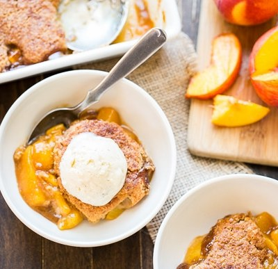 Peach Cobbler (Gluten Free, Paleo + Vegan)