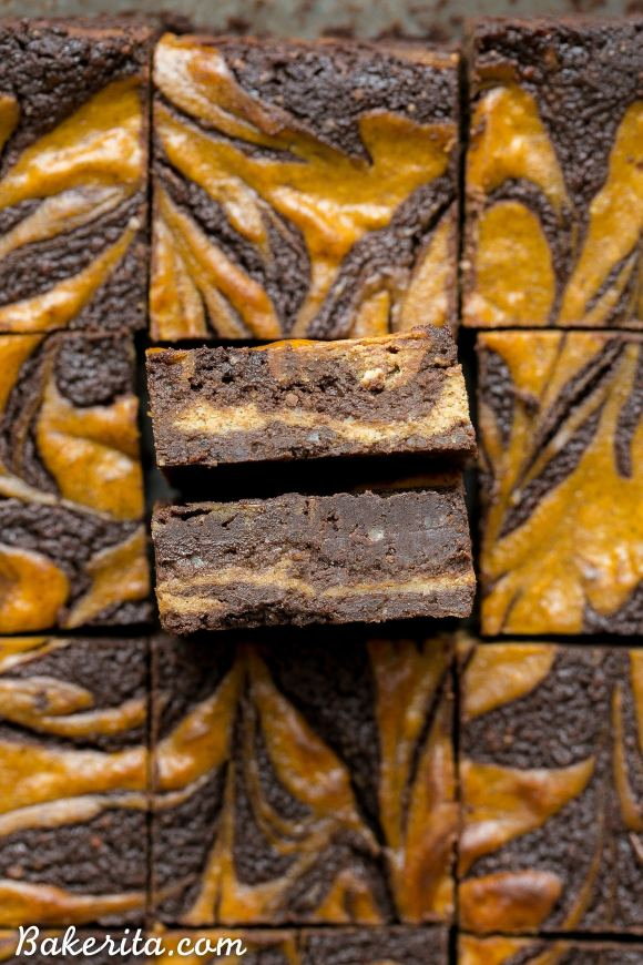 These Pumpkin Cheesecake Brownies are moist + fudgy brownies with a swirled layer of spiced pumpkin cheesecake! These brownies are gluten-free and refined sugar free.