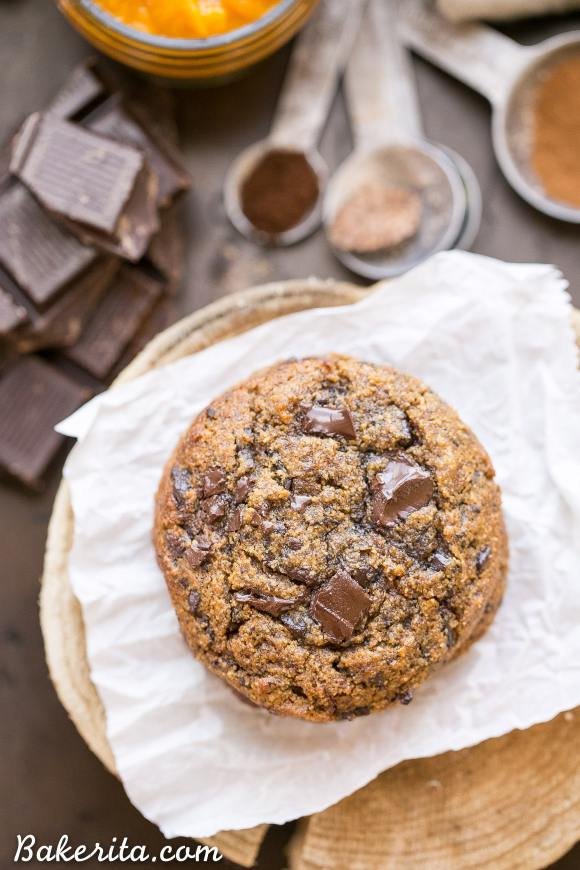 These Pumpkin Chocolate Chunk Cookies are made with browned butter and flavored with cinnamon, nutmeg + cloves! You'll love the big dark chocolate chunks in these gluten-free + grain-free cookies.