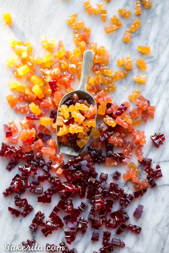 These Paleo Gummies couldn't be easier to make! The three flavors, Pomegranate, Apple Cinnamon, and Cranberry Orange, are flavored with fruit juice and made with gut-healing gelatin for a superfood boost. You can use any flavor of fruit juice you'd like to customize these to your tastes, too!