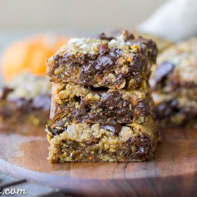 Pumpkin Oatmeal Scotchie Bars with Chocolate Chips + Pecans