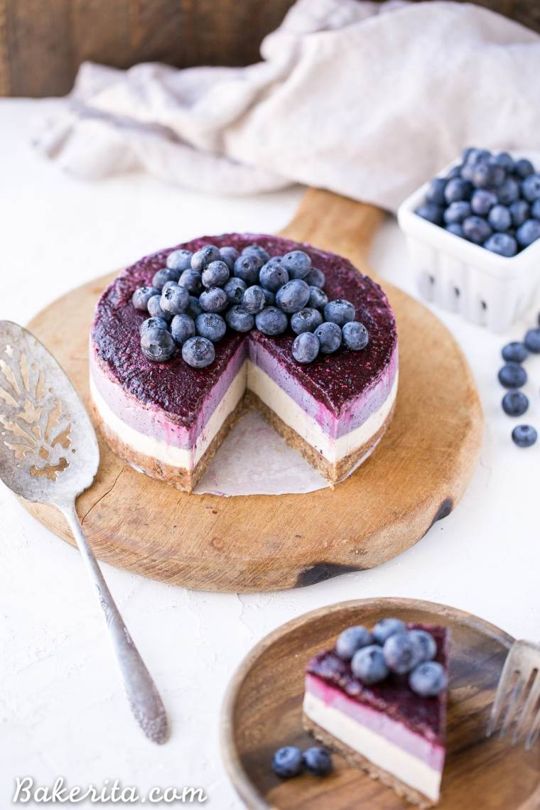 No Bake Layered Blueberry Cheesecake Gluten Free Paleo
