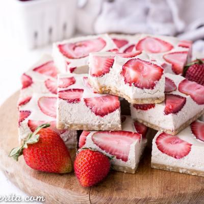 No-Bake Strawberry Shortcake Bars (Gluten Free, Paleo + Vegan)