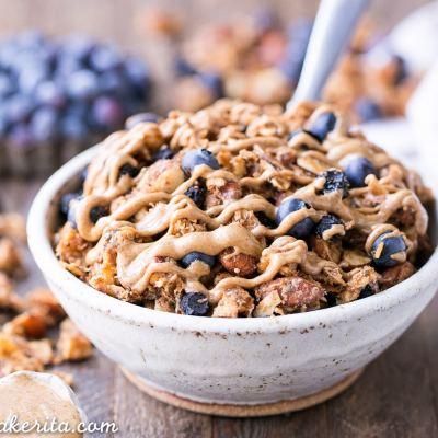 Blueberry Almond Butter Grain-Free Granola (Gluten-Free, Paleo + Vegan)