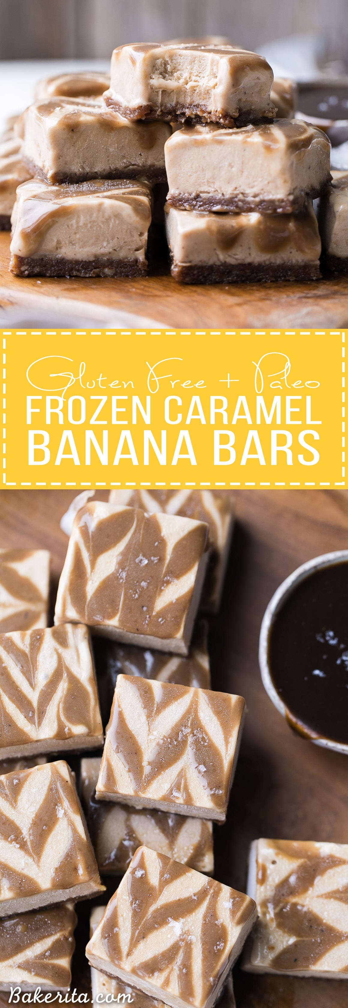 These Frozen Caramel Banana Bars are easy to make in a blender or food processor, and they're super creamy and refreshing. These gluten-free and paleo bars have a chewy pecan-date crust, topped with banana nice cream and a caramel swirl.
