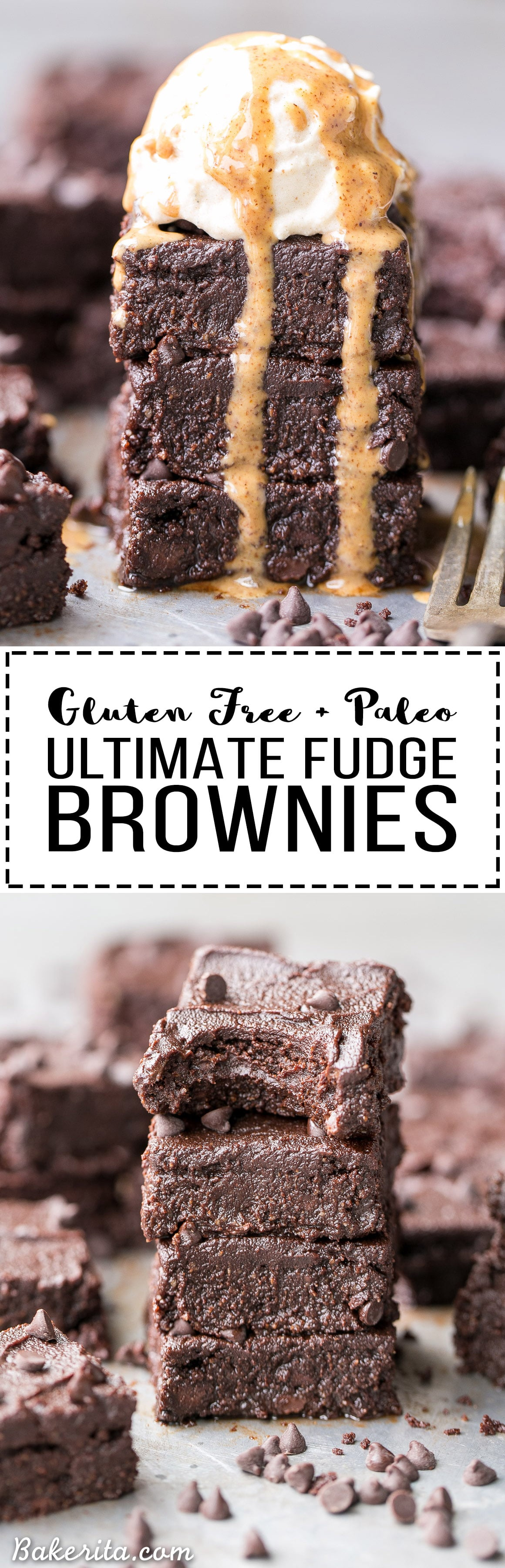 These are the Ultimate Gluten Free Fudge Brownies! This easy recipe makes incredibly fudgy, melt in your mouth chocolate brownies with an optional paleo chocolate frosting on top. This recipe is refined sugar free and Paleo-friendly.