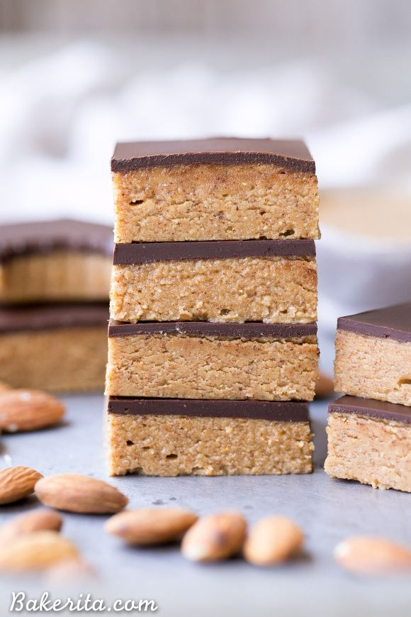 These No Bake Chocolate Almond Butter Bars are easy to make with just five ingredients and no baking necessary! You've got to sink your teeth into these rich gluten free, paleo and vegan bars.