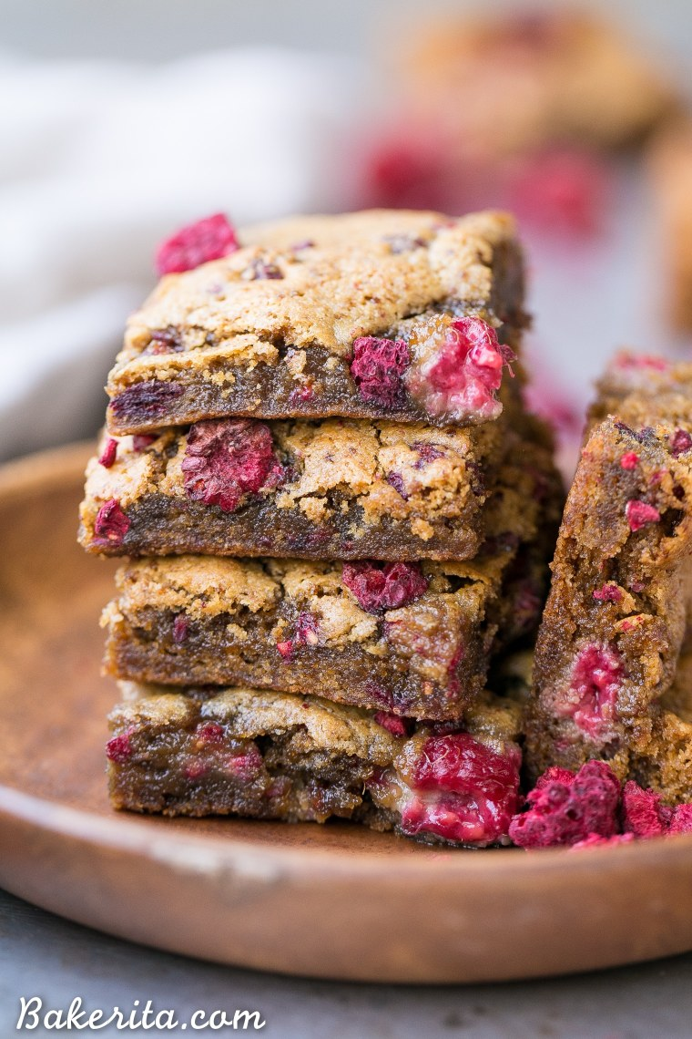 These Raspberry Blondies are incredibly soft and chewy and full of bright berry flavor. These gluten-free, Paleo and vegan blondies are made with cashew butter, coconut flour, and fresh raspberries!