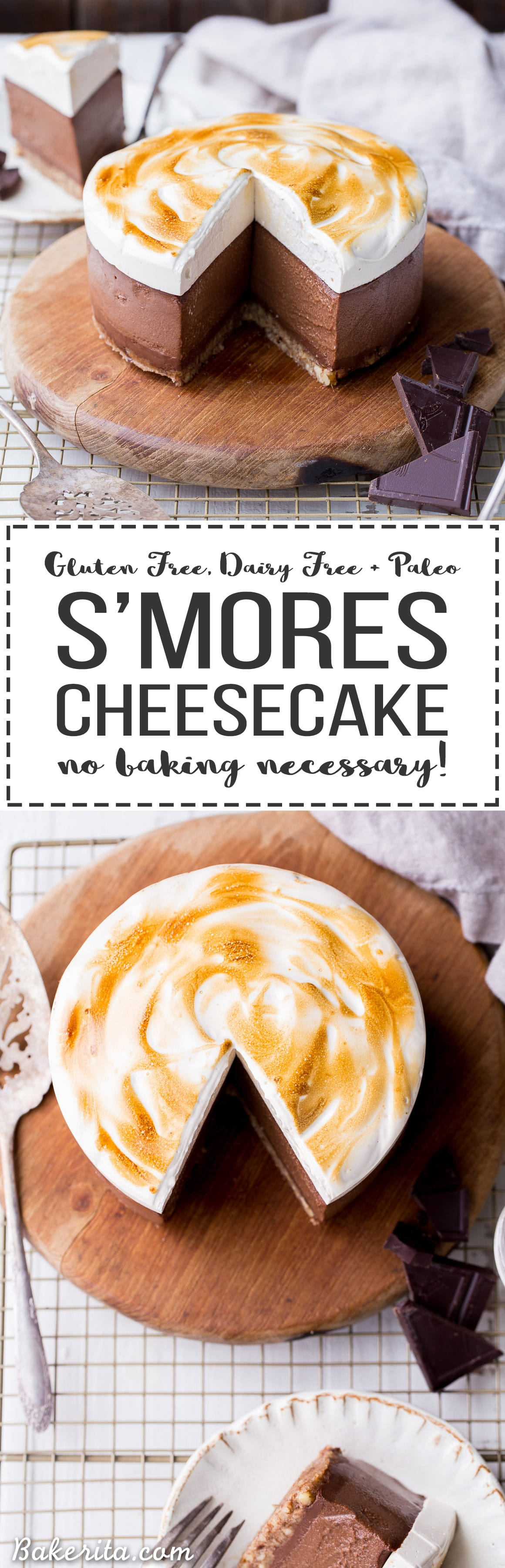 """This No Bake S'mores Cheesecake has a graham cracker flavored crust topped with chocolate ganache, rich chocolate """"cheesecake"""" made with soaked cashews, and a layer of homemade toasted marshmallow on top! You'd never guess this decadent dessert is gluten-free, dairy-free, and Paleo."""
