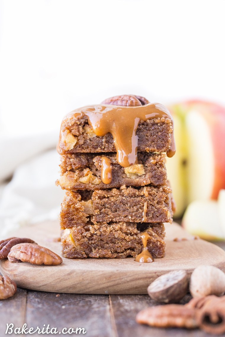 These Apple Blondies are full of warm spices and topped with an absolutely scrumptious (and SUPER easy) caramel glaze. These chewy, soft apple blondies are gluten-free, paleo and vegan.