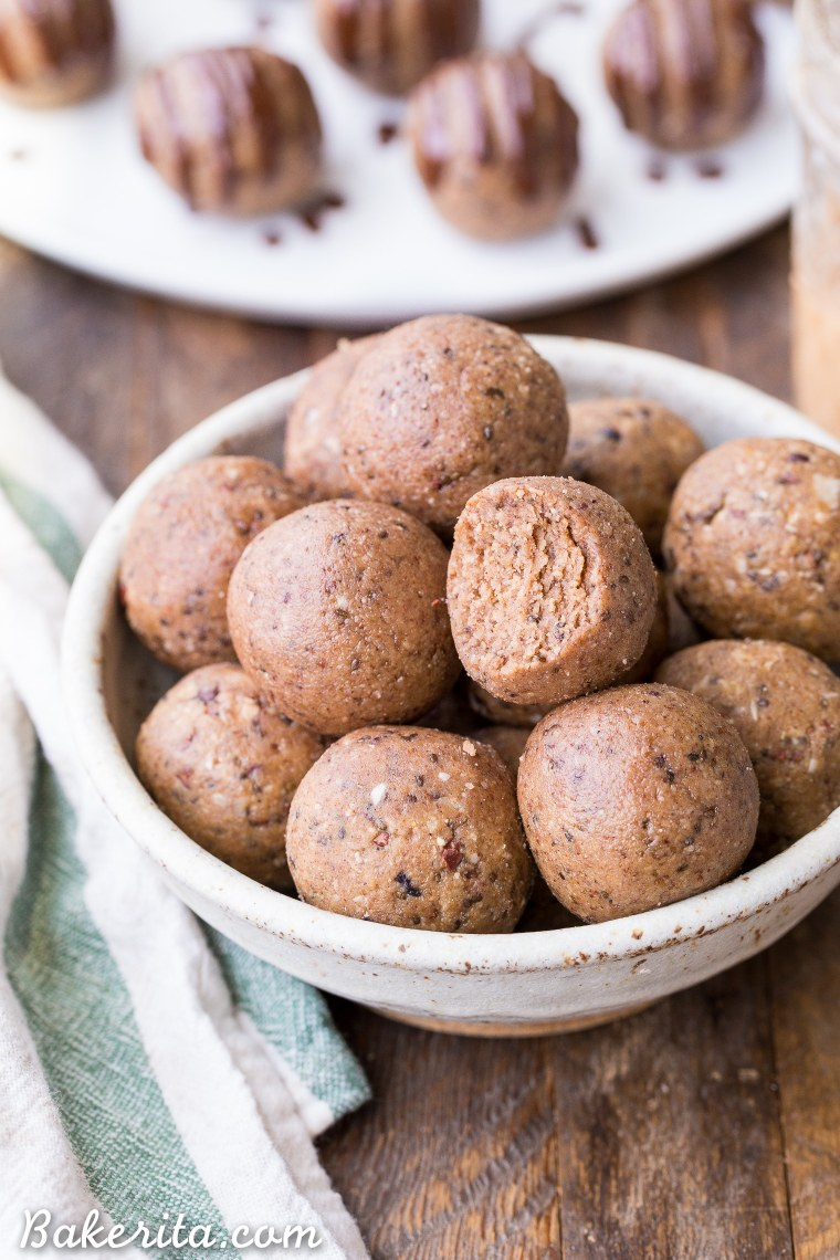 These Nutty Coconut Fat Bombs are an easy-to-make snack that is filling, full of healthy fats, and absolutely delicious! It's a no-bake recipe that's gluten-free, paleo, keto, low carb, Whole30-friendly, and vegan.