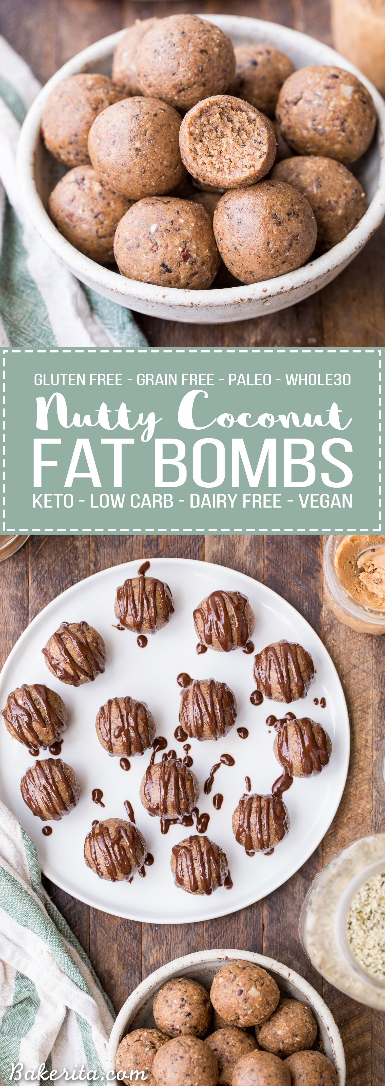 These Nutty Coconut Fat Bombs are an easy-to-make snack that is filling, full of healthy fats, and absolutely delicious! It's a no-bake recipe that's gluten-free, grain-free, paleo, keto, low carb, Whole30-friendly, and vegan.