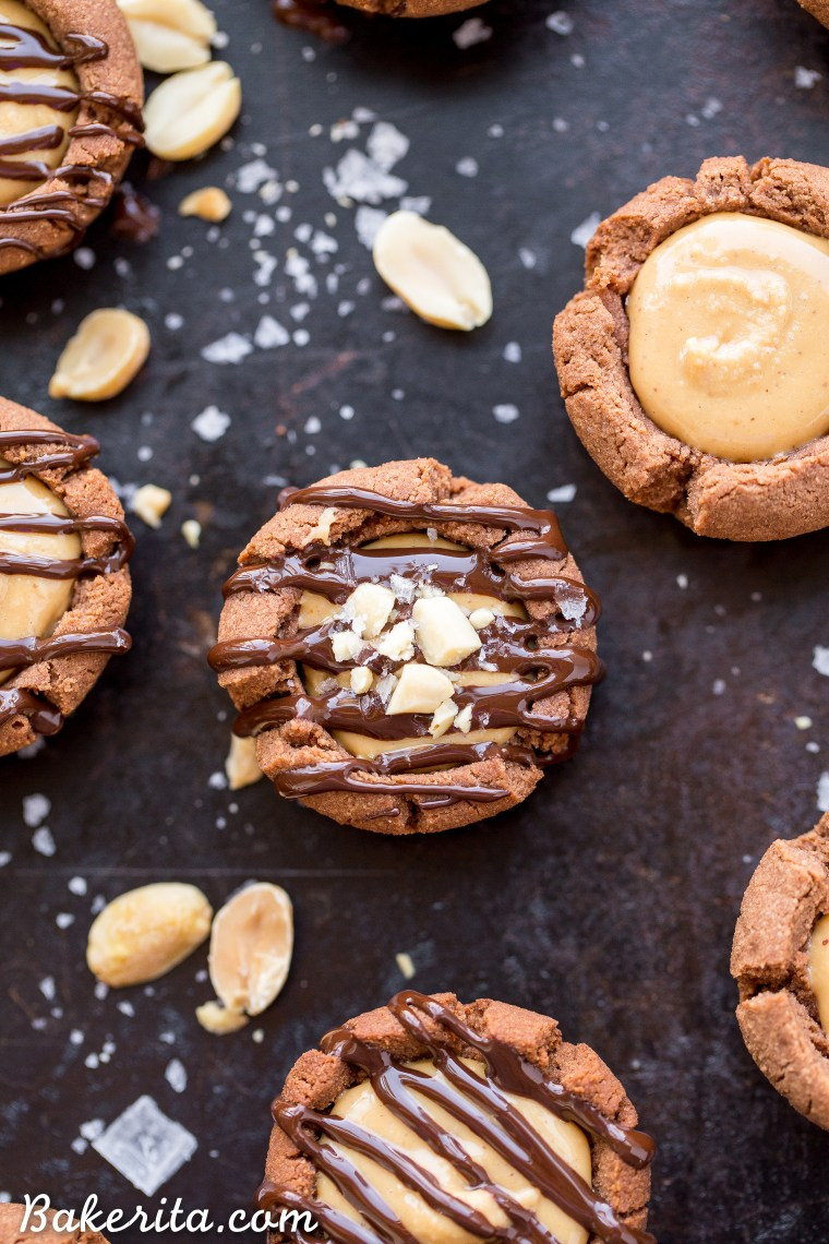 These Chocolate Peanut Butter Tartlets are sure to satisfy your sweet tooth! The chocolate shortbread crust is irresistibly crunchy, with a luscious peanut butter filling. You'd never guess these mini tarts are gluten free, grain free, refined sugar free, and vegan.