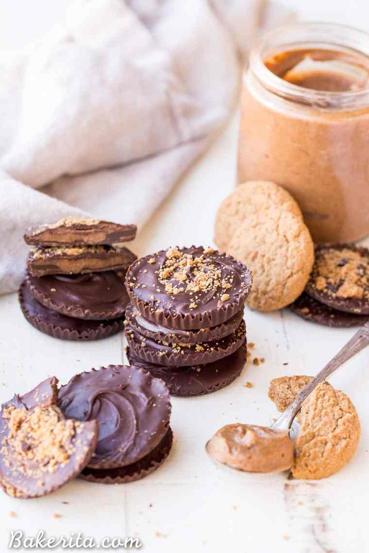 These Chocolate Cookie Butter Cups are filled with a lusciously smooth and creamy homemade cookie butter! I bet you'd never guess that these incredible homemade chocolate candies are gluten-free, paleo, and vegan.