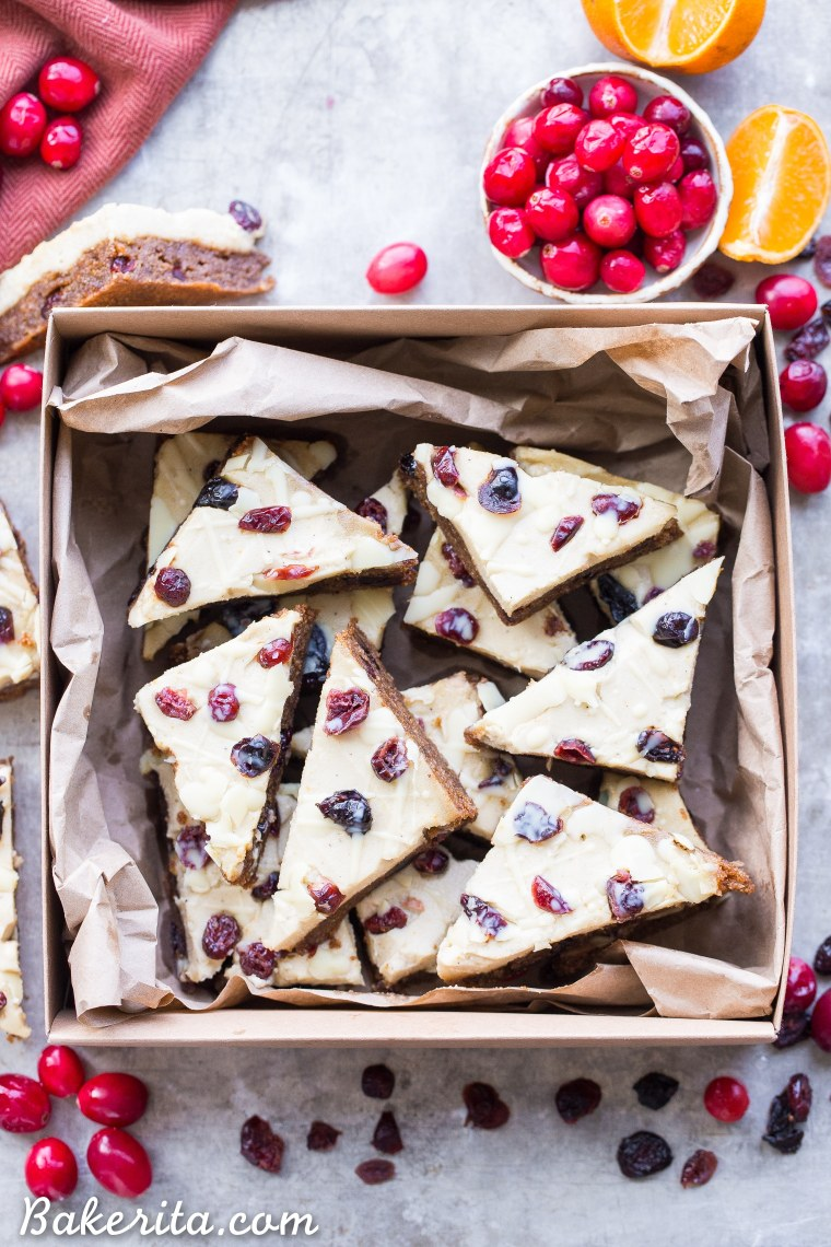 These Homemade Cranberry Bliss Bars are a homemade take on the Starbucks' holiday favorite! These cakey blondies are chewy and loaded with cranberry, orange, and white chocolate flavors. They're gluten free, paleo and vegan.