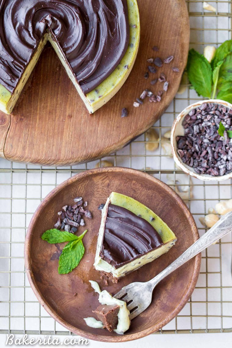 This No Bake Mint Chip Cheesecake is a healthier paleo and vegan cheesecake, made with a creamy cashew base. It has a nutty chocolate crust and a smooth and minty filling, with crunchy cacao nibs throughout and creamy dark chocolate ganache on top.