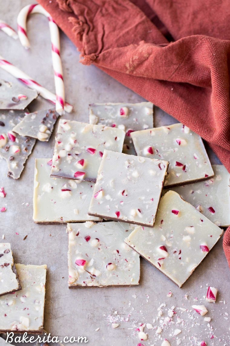 This Chocolate Peppermint Bark is a healthier twist on the holiday classic! It has a layer of dark chocolate topped with minty homemade vegan white chocolate and a sprinkling of crushed peppermint candies. You'll adore this gluten-free, paleo and vegan peppermint bark!