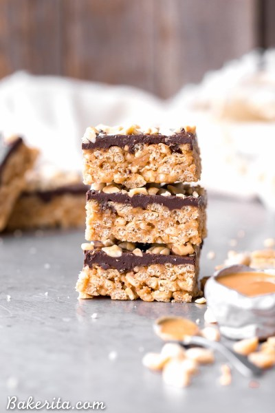 These Chocolate Peanut Butter Crispy Bars are crunchy peanut butter perfection, and you only need FIVE ingredients to make them! These gluten-free and vegan crispy bars are sure to satisfy your chocolate peanut butter cravings.